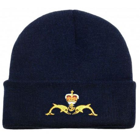 HM Submarines Navy Shop - Woolen Beanie Hat with the submarine service dolphins embroidered on front.